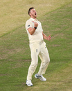 Ollie Robinson celebrates the wicket of Moises Henriques, Australia A v England Lions, Tour match, MCG, February 23, 2020