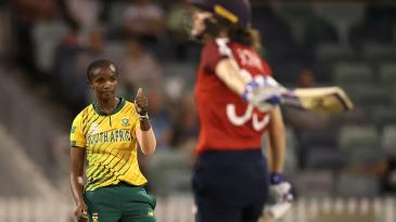 Ayabonga Khaka celebrates after taking the wicket of Natalie Sciver