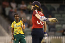 Ayabonga Khaka celebrates after taking the wicket of Natalie Sciver, England v South Africa, ICC Women's T20 World Cup, Perth, February 23 2020