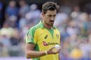 Mitchell Starc examines the new ball, South Africa v Australia, 2nd T20I, Port Elizabeth, February 23, 2020