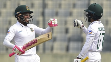 Mominul Haque and Mushfiqur Rahim punch gloves