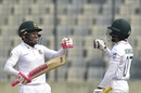 Mominul Haque and Mushfiqur Rahim punch gloves, Bangladesh v Zimbabwe, Only Test, Dhaka, 3rd day, February 24, 2020