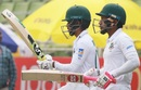 Mushfiqur Rahim and Mominul Haque prepare to resume batting, Bangladesh v Zimbabwe, Only Test, Dhaka, 3rd day, February 24, 2020