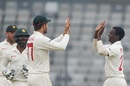 Ainsley Ndlovu celebrates a wicket, Bangladesh v Zimbabwe, Only Test, Dhaka, 3rd day, February 24, 2020