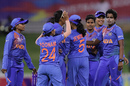 India celebrate Arundhati Reddy's breakthrough, India Women vs Bangladesh Women, Women's T20 World Cup, Perth, February 24, 2020