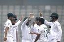 Taijul Islam is congratulated by his team-mates, Bangladesh v Zimbabwe, Only Test, Dhaka, 4th day, February 25, 2020