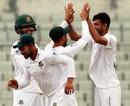 Nayeem Hasan celebrates a dismissal, Bangladesh v Zimbabwe, Only Test, Dhaka, 4th day, February 25, 2020