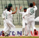 Taijul Islam celebrates with his team-mates after sending back Sikandar Raza, Bangladesh v Zimbabwe, Only Test, Dhaka, 4th day, February 25, 2020