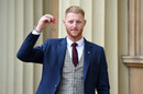 Ben Stokes poses with his medal after being appointed an Officer of the Order of the British Empire (OBE) following an investiture service at Buckingham Palace, London, February 25, 2020