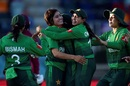 Diana Baig is congratulated by her team-mates, Pakistan v West Indies, women's T20 World Cup, Canberra, February 26, 2020