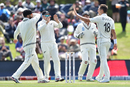 New Zealand get together after Trent Boult struck the first blow in Christchurch, New Zealand v India, 2nd Test, Christchurch, 1st day, February 29, 2020