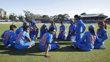 India get into a huddle after four wins in a row in the group stage