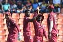 Alzarri Joseph takes in some high-fives, Sri Lanka v West Indies, 3rd ODI, Pallekele, March 1, 2020