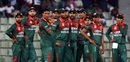 The Bangladesh players await a verdict after reviewing a decision against Mohammad Saifuddin, Bangladesh v Zimbabwe, 1st ODI, Sylhet, March 1, 2020