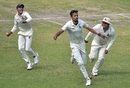 Ishan Porel goes on a celebratory run after dismissing KL Rahul second ball, Bengal v Karnataka, Ranji Trophy 2019-20, semi-final,  3rd day, Kolkata, March 2, 2020