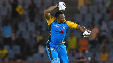 Still breaking them records: Pollard's first T20 hundred came from No. 5, against the Barbados Tridents, off 53 balls, in 2018