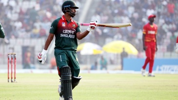 Tamim Iqbal walks off after breaking his own record for highest ODI score for a Bangladesh batsman