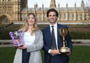 Lauren Griffiths and Ryan ten Doeschate with the Women's One Day Cup and County Championship trophies, House of Lord's, March 3, 2020
