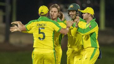 Australia celebrate Adam Zampa's breakthrough