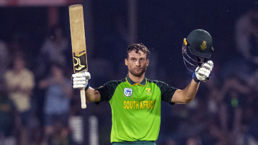 Janneman Malan soaks in the applause for his maiden ODI century