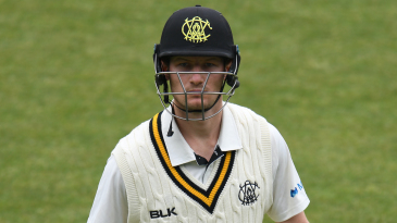 Cameron Bancroft walks off after being dismissed against Tasmania