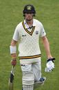 Cameron Bancroft walks off after being dismissed against Tasmania