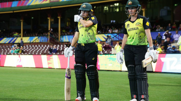 Alyssa Healy and Beth Mooney prepare to start the Australia innings