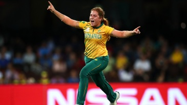 Nadine de Klerk is ecstatic after taking a wicket