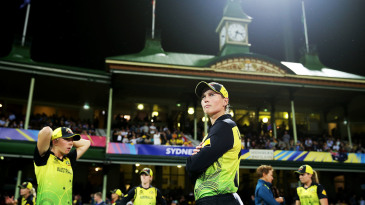 Meg Lanning looks on as Australia wait to take the field