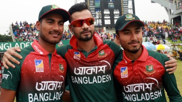 Mashrafe Mortaza with the two debutants, Mohammad Naim and Afif Hossain