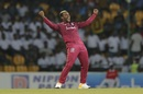 Fabian Allen celebrates a wicket, Sri Lanka v West Indies, 2nd T20I, Pallekele, March 6, 2020