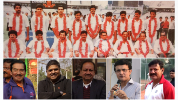 [Top] The 1989-90 Ranji-winning team; [Bottom L to R] Arun Lal, Ashok Malhotra, Sambaran Banerjee, Sourav Ganguly, Utpal Chatterjee