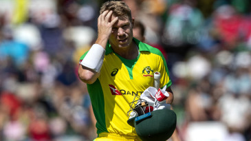 David Warner walks off after being dismissed