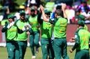Anrich Nortje celebrates a breakthrough, Australia v South Africa, 3rd ODI, Potchefstroom, March 7, 2020