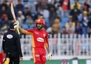 Shadab Khan raises his bat after getting to a fifty, PSL 2020, March 7, 2020