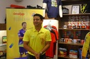 Piyush Chawla is all smiles after inaugurating CSK's official merchandise store in Chennai, Chennai, March 8, 2020