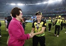 Megan Schutt catches up with Billie Jean King, Australia v India, final, Women's T20 World Cup, Melbourne, March 8, 2020