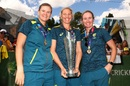 Beth Mooney, Jess Jonassen and Delissa Kimmince with the T20 World Cup trophy, Melbourne, March 9, 2020