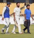 Cheteshwar Pujara walks back retired hurt due to illness. He had come out to bat at No.6, Saurashtra v Bengal, Ranji Trophy 2019-20 final, Rajkot, March 9, 2020