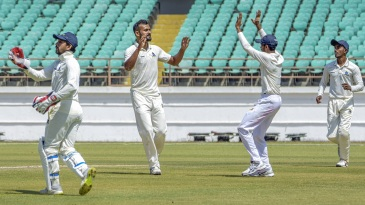 Akash Deep celebrates after yet another wicket