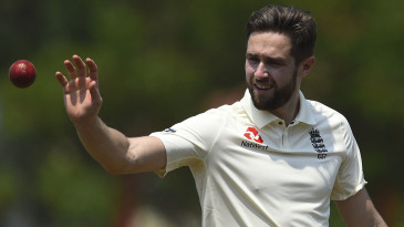 Chris Woakes during the second day of a three-day practice match between a Sri Lanka Cricket XI and England