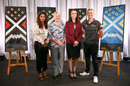 New Zealand Prime Minister Jacinda Ardern with Sophie Devine, Mithali Raj, Debbie Hockley and the World Cup launch, Wellington, March 11, 2020