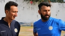 Niraj Odedra and Cheteshwar Pujara having a chat