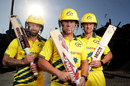 Matthew Wade, David Warner and D'Arcy Short in Australia's retro kit, Sydney, March 11, 2020