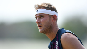 Stuart Broad looks on in training
