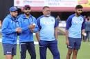 Bowling coach Bharat Arun with his wards - Kuldeep Yadav, Ravindra Jadeja and Jasprit Bumrah, India v South Africa, 1st ODI, Dharamsala, March 12, 2020