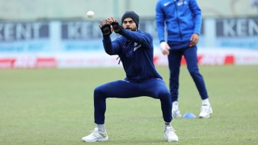 Indian captain Virat Kohli takes part in a fielding drill