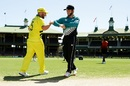Aaron Finch and Kane Williamson improvise while greeting each other at the toss, Australia v New Zealand, 1st ODI, Sydney, March 13, 2020