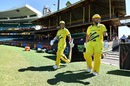 Aaron Finch and David Warner walk out to empty stands, Australia v New Zealand, 1st ODI, Sydney, March 13, 2020