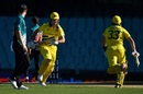 Mitchell Marsh and Marnus Labuschagne run a quick single, Australia v New Zealand, 1st ODI, Sydney, March 13, 2020